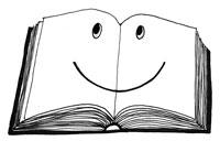 Libro disegnato che sorride ai bambini