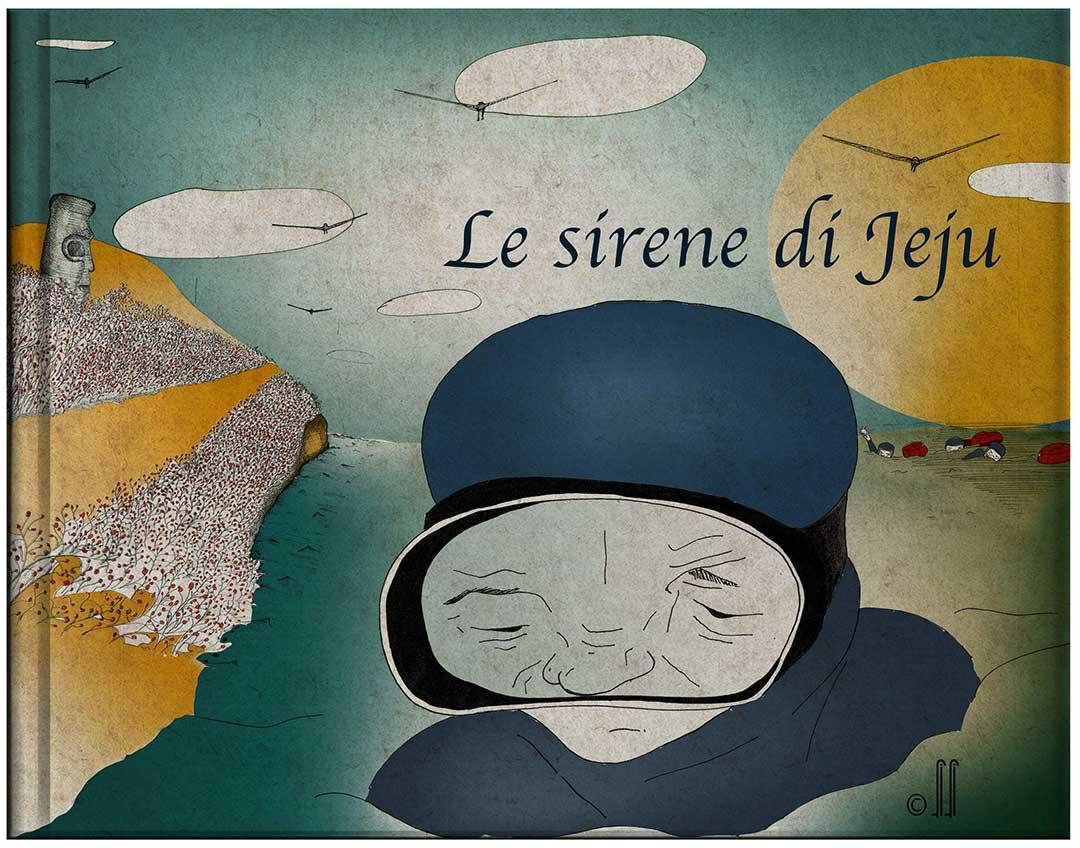 """Copertina storia illustrata per bambini """"Le sirene di Jeju"""""""