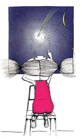 Disegno di bambina che guarda dalla finestra il cielo stellato, nell'atto di Cercare