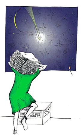 Disegno di bambina che guarda dalla finestra il cielo stellato, nell'atto di Sognare