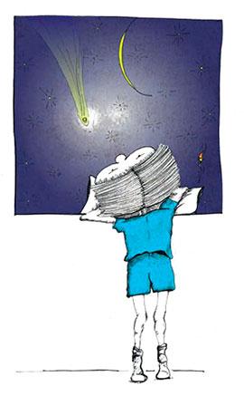 Disegno di bambino che guarda dalla finestra il cielo stellato, nell'atto di Leggere