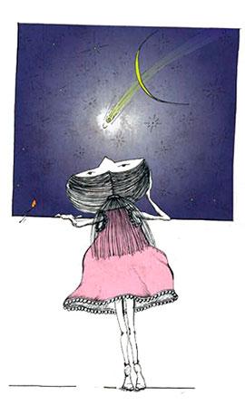 Disegno di bambina che guarda dalla finestra il cielo stellato, nell'atto di Esplorare